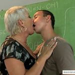 Old teacher got her pussy fucked by a young pupil