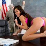 Little sexy student wants better grades, so she pounds her teacher.