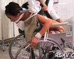Hot schoolgirl in wheelchair is getting fucked by doctor.